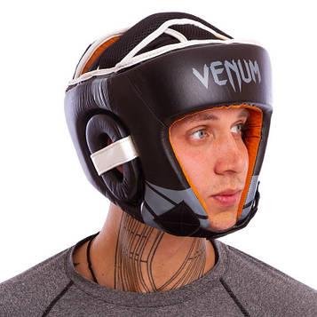 Шлем боксерский открытый с усиленной защитой макушки кожаный VNM (р-р M-XL)