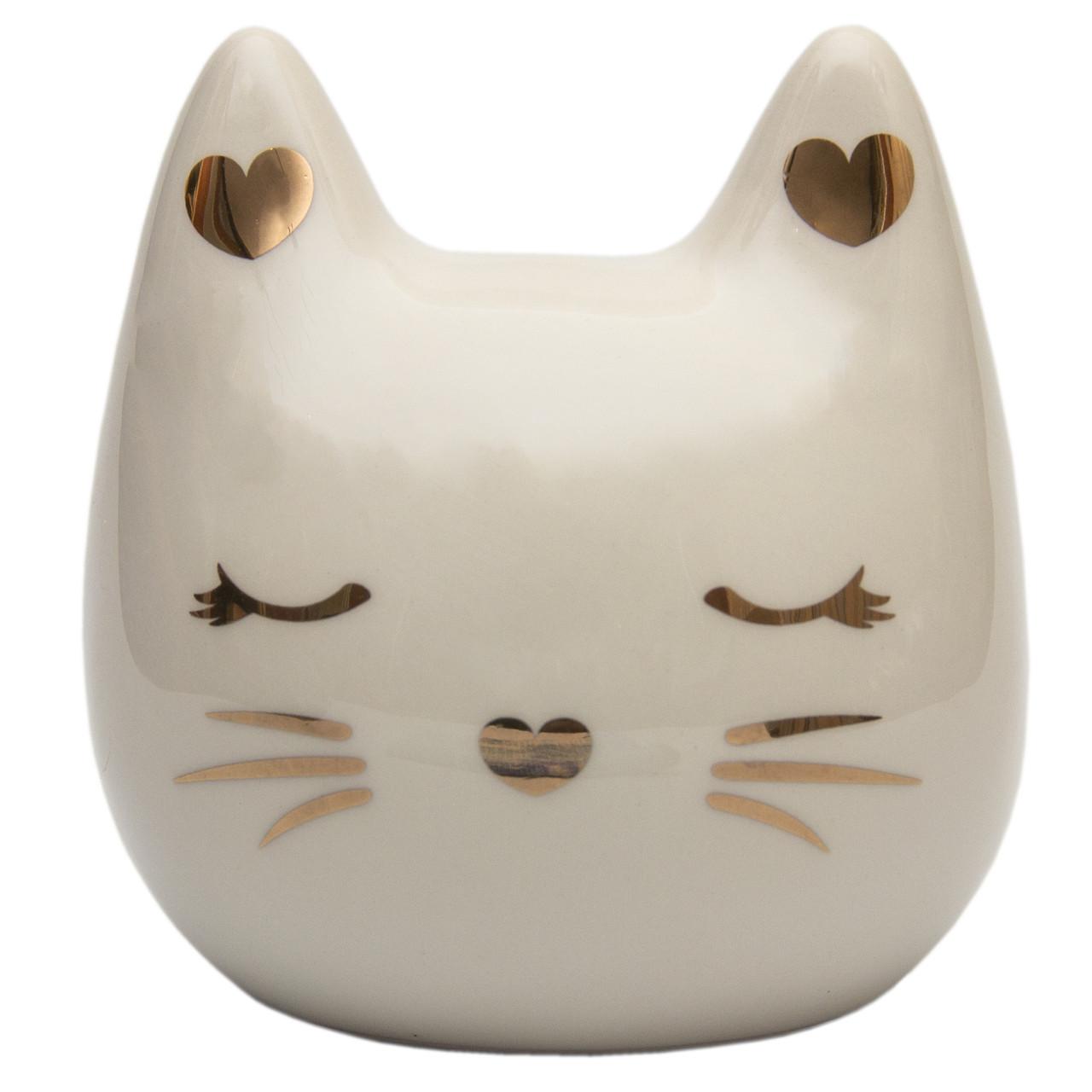 Декоративная фигурка - копилка кот, 12*11,2*8 см, белый, полистоун (240975)