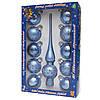 Набор елочных игрушек - шары с верхушкой, 11 шт, D6 см, синий, в точку, стекло (390236-5), фото 2