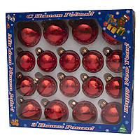 Набор елочных шаров, 18 шт., стекло, красный глянец(390274-1)