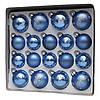Набір ялинкових іграшок - кулі, 18 шт, D5-6 см, синій, мікс, в маленькі зірки, пластик (390274-9), фото 2