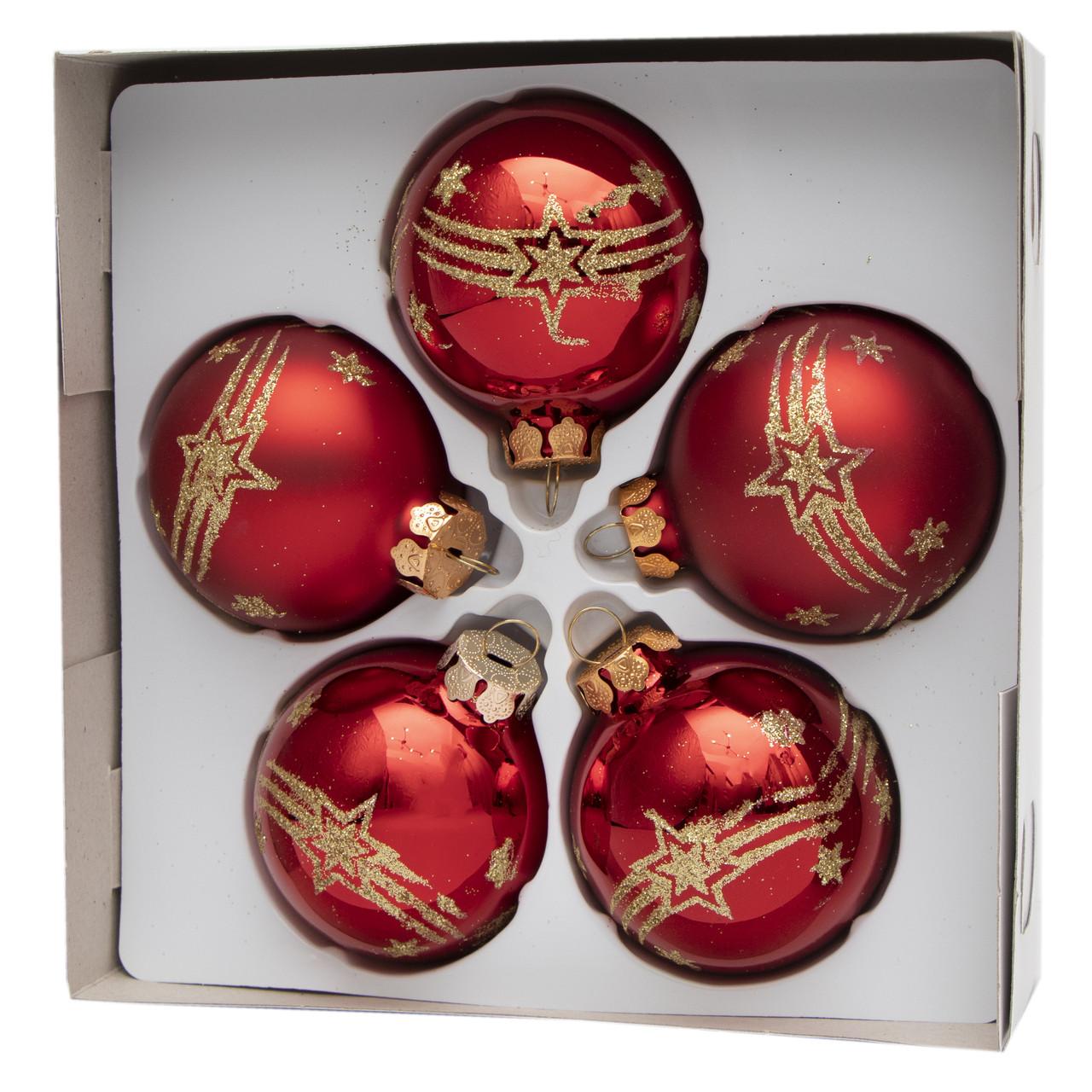 Набор елочных игрушек - шары с декором, 5 шт, D6 см, красный, звезды, стекло (390304-12)
