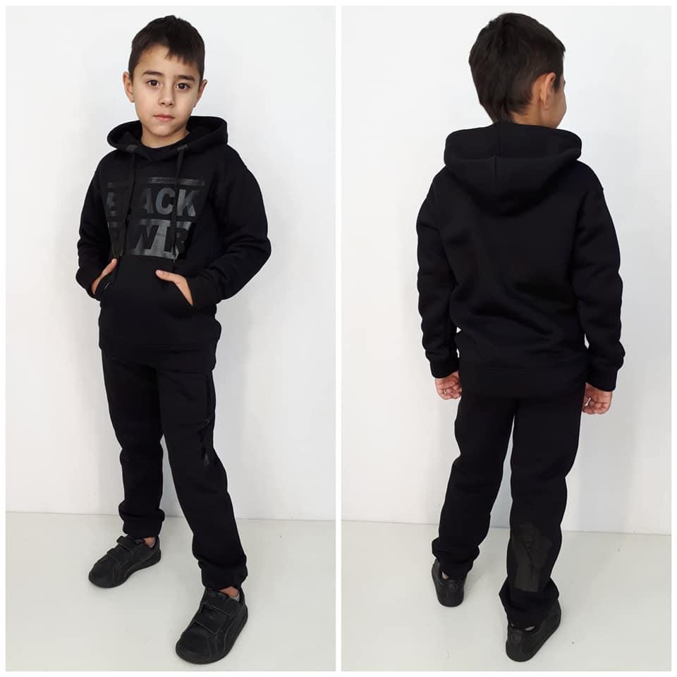Теплый спортивный костюм  Black с начесом  цвет черный на мальчика девочку  128 см