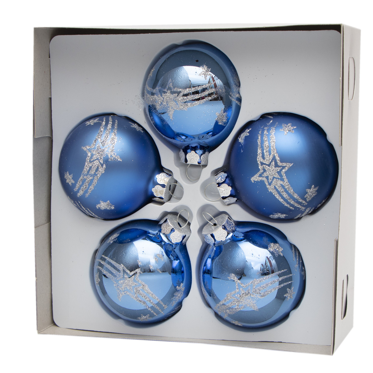 Набор елочных игрушек - шары с декором, 5 шт, D6 см, синий, звезды, стекло (390304-16)