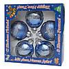 Набор елочных игрушек - шары с декором, 5 шт, D6 см, синий, звезды, стекло (390304-16), фото 2