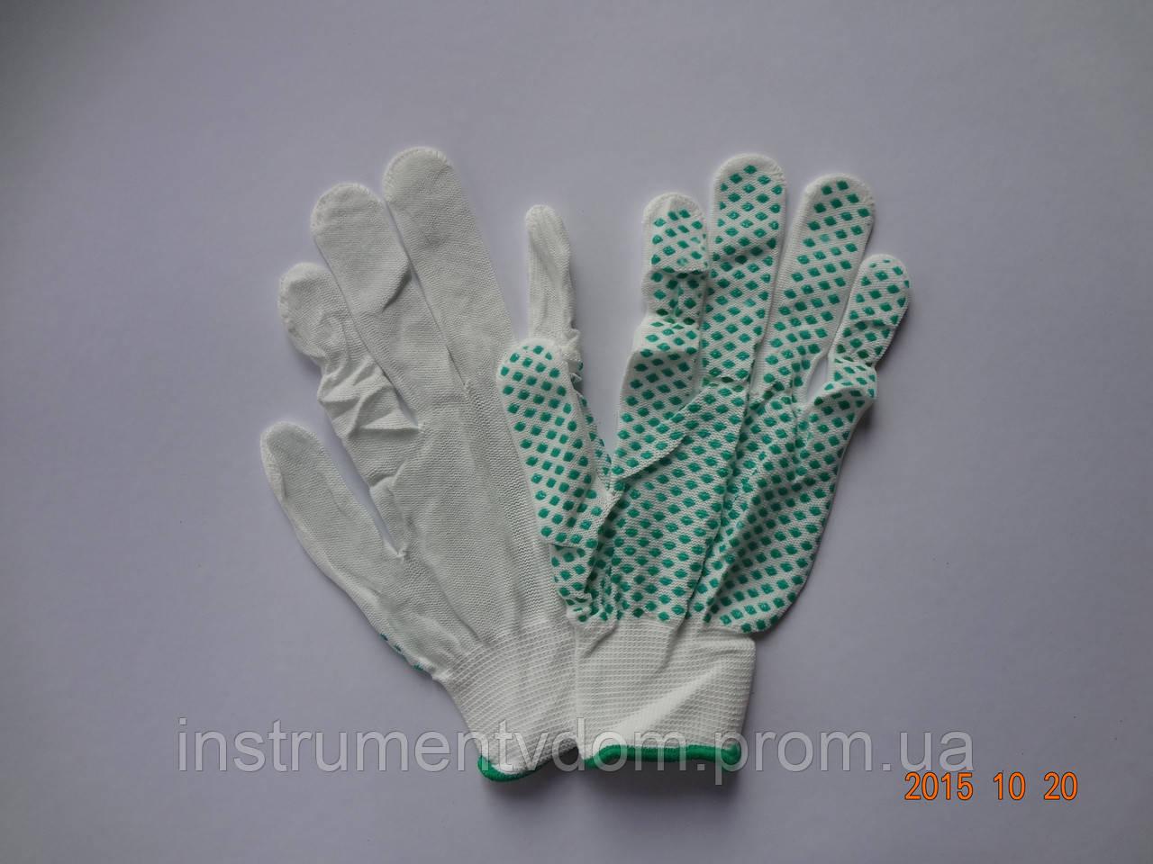 Перчатки белые нейлоновые с ПВХ ромбами (упаковка 12 пар)
