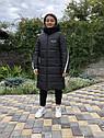 Зимова куртка на дівчинку, чорна, подовжена, фото 4