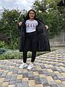 Зимова куртка на дівчинку, чорна, подовжена, фото 3