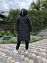 Зимова куртка на дівчинку, чорна, подовжена, фото 5