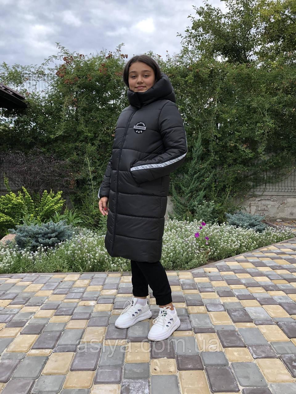 Зимняя куртка на девочку, черная, удлиненная