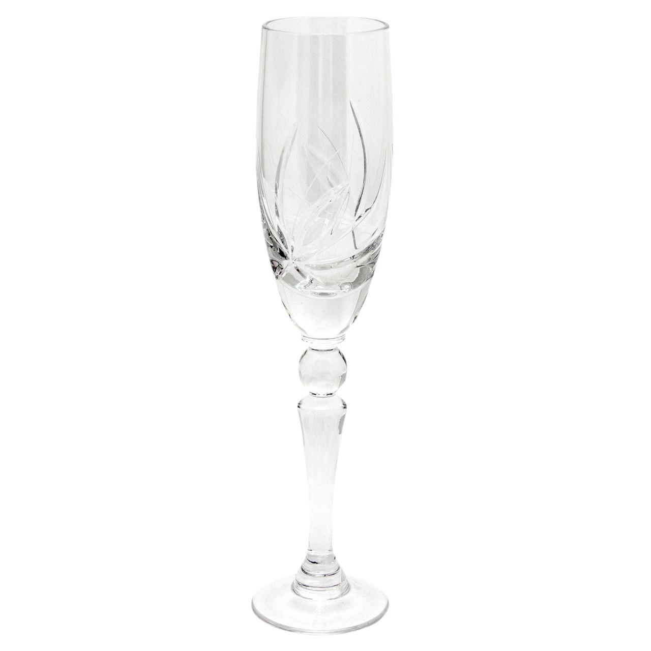 Кришталевий келих для шампанського, візерунок - квітка, об`єм -140 мл, висота - 24 см (6404/1-2)