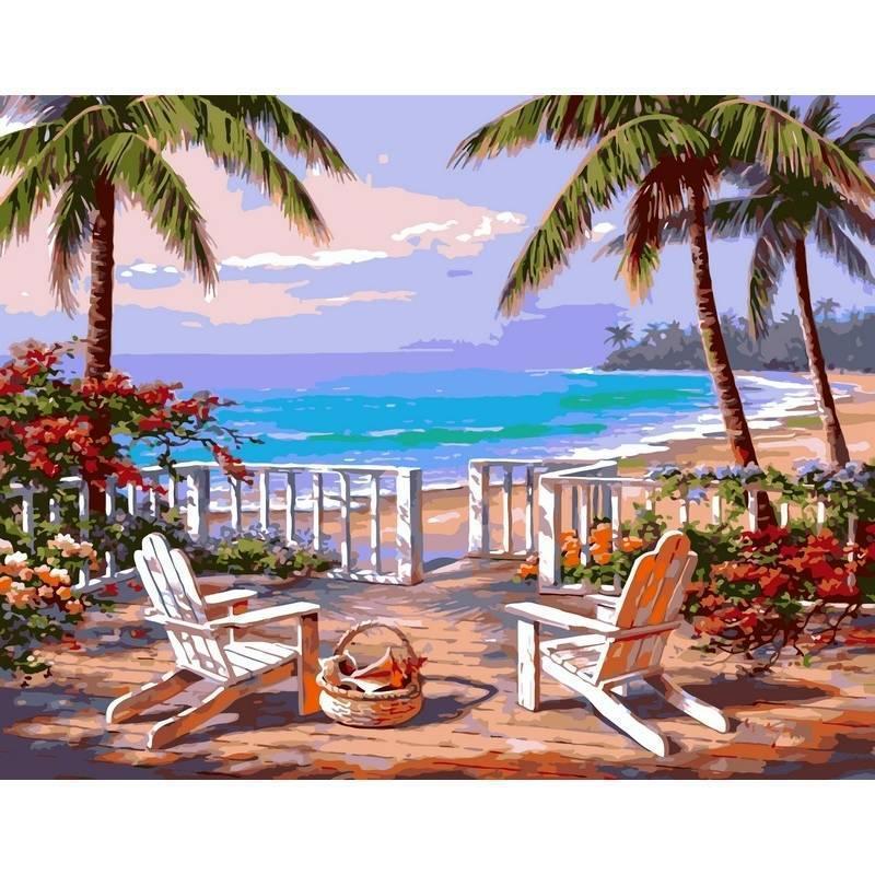 Картина по номерах Babylon Пляж Анатолии. Худ. Ким Сунг 40х50см VP009 набір для розпису по номерах в коробці набір для розпису, фарби та пензлі