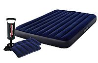 Надувной матрас двухместный Intex 64765 синий с двумя подушками и насосом 203х152х25 см