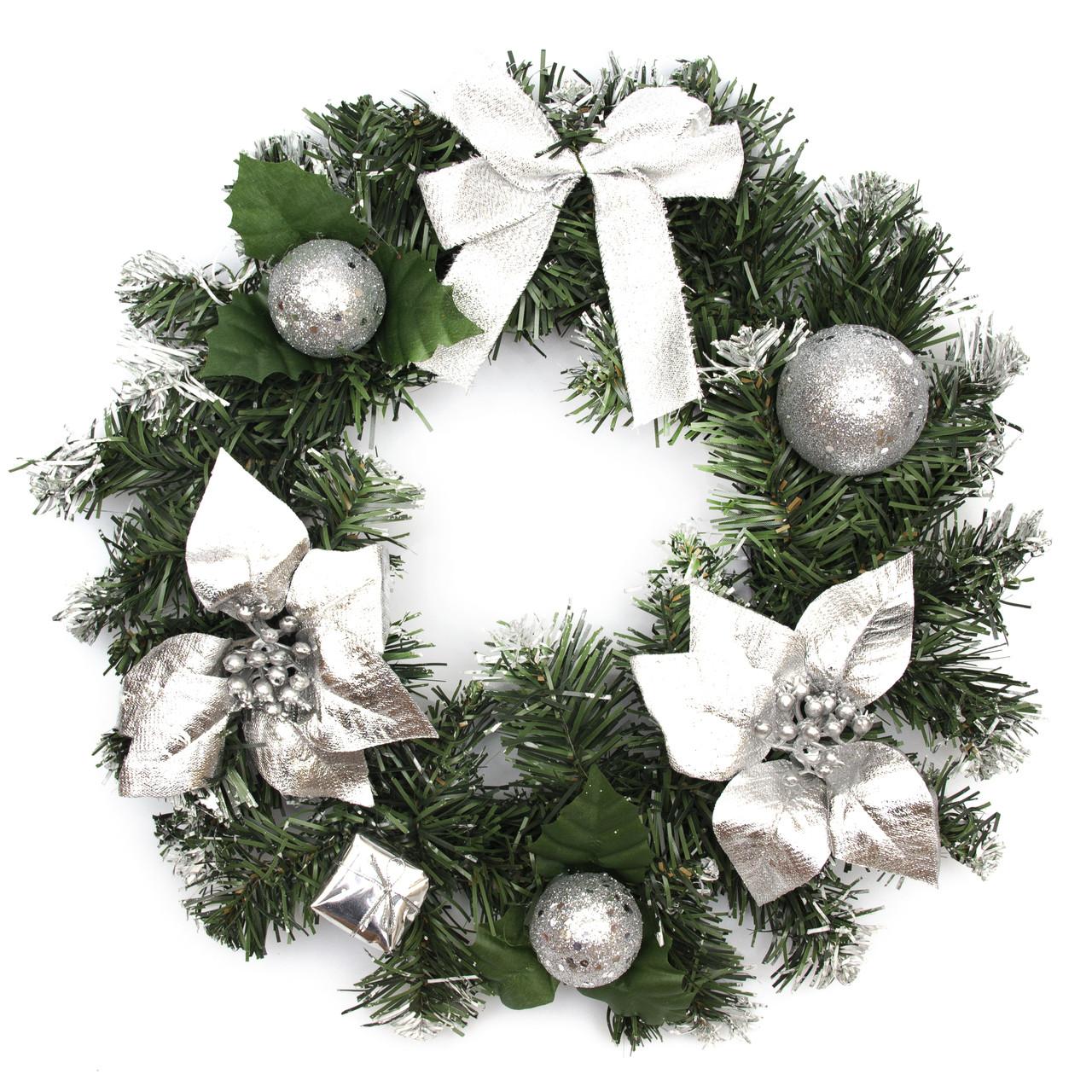 Венок рождественский, серебристый декор, 30 см (930074)