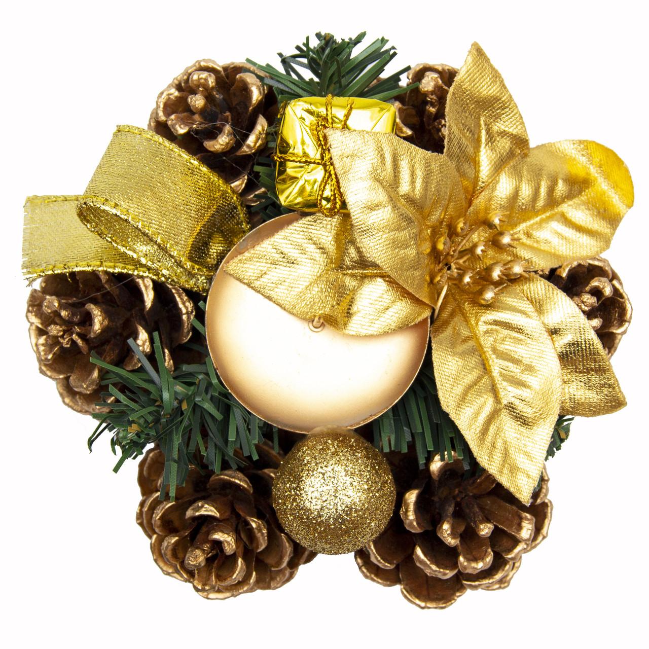 Подсвечник венок с цветами, золотой декор, 15 см (930111)