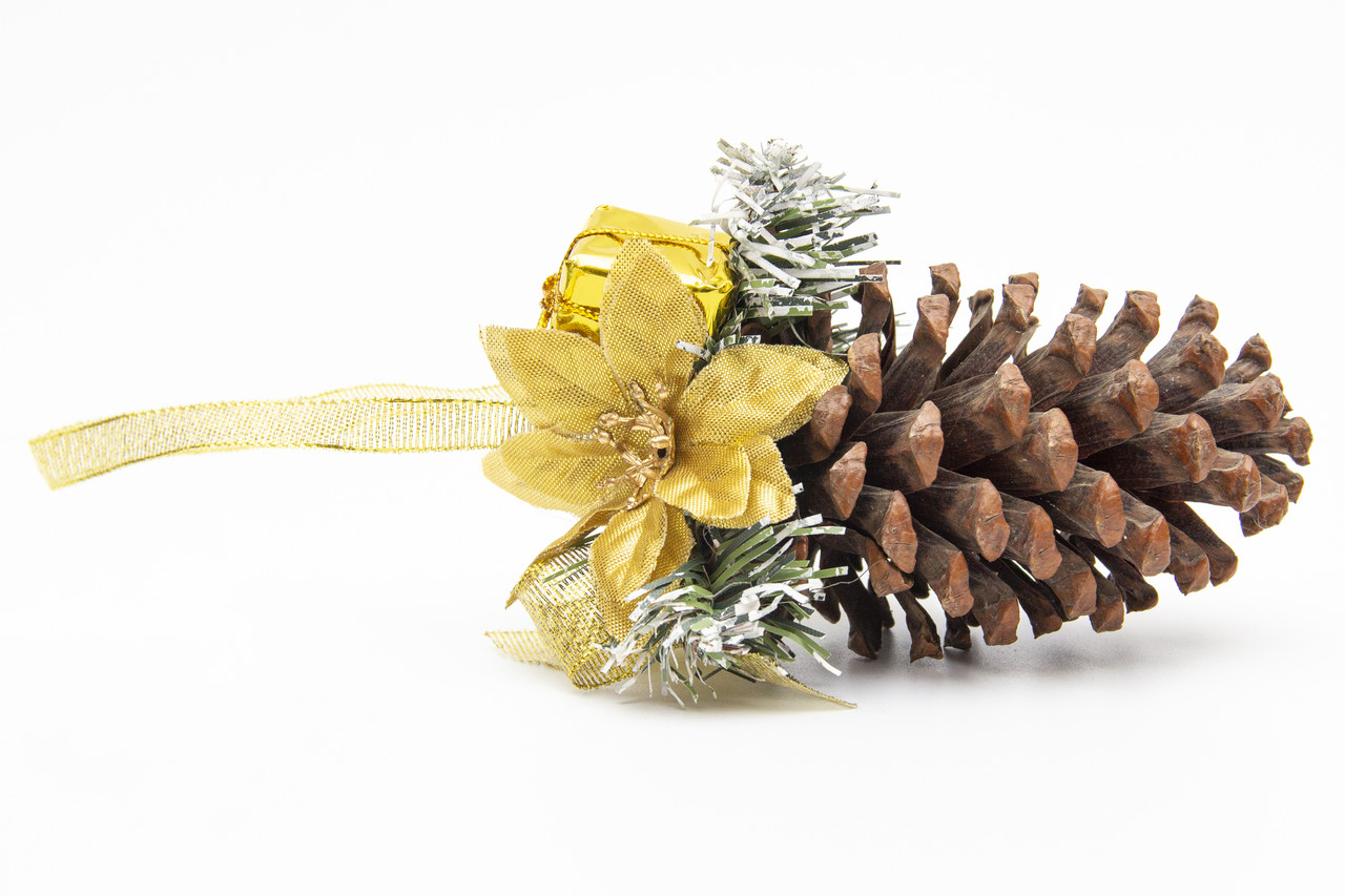 Ялинкова прикраса - шишка з золотою стрічкою, 10 см (930173)