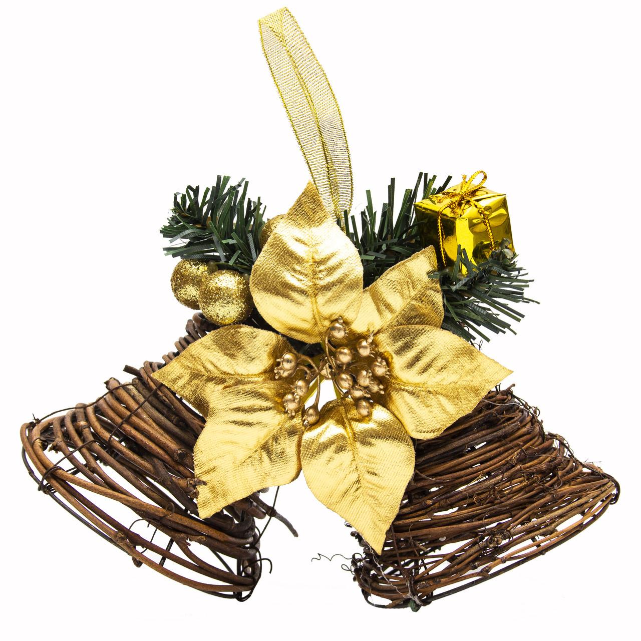 Новогодняя декорация - звоночек двойной с золотой ленточкой, 22, 5 см (930203)