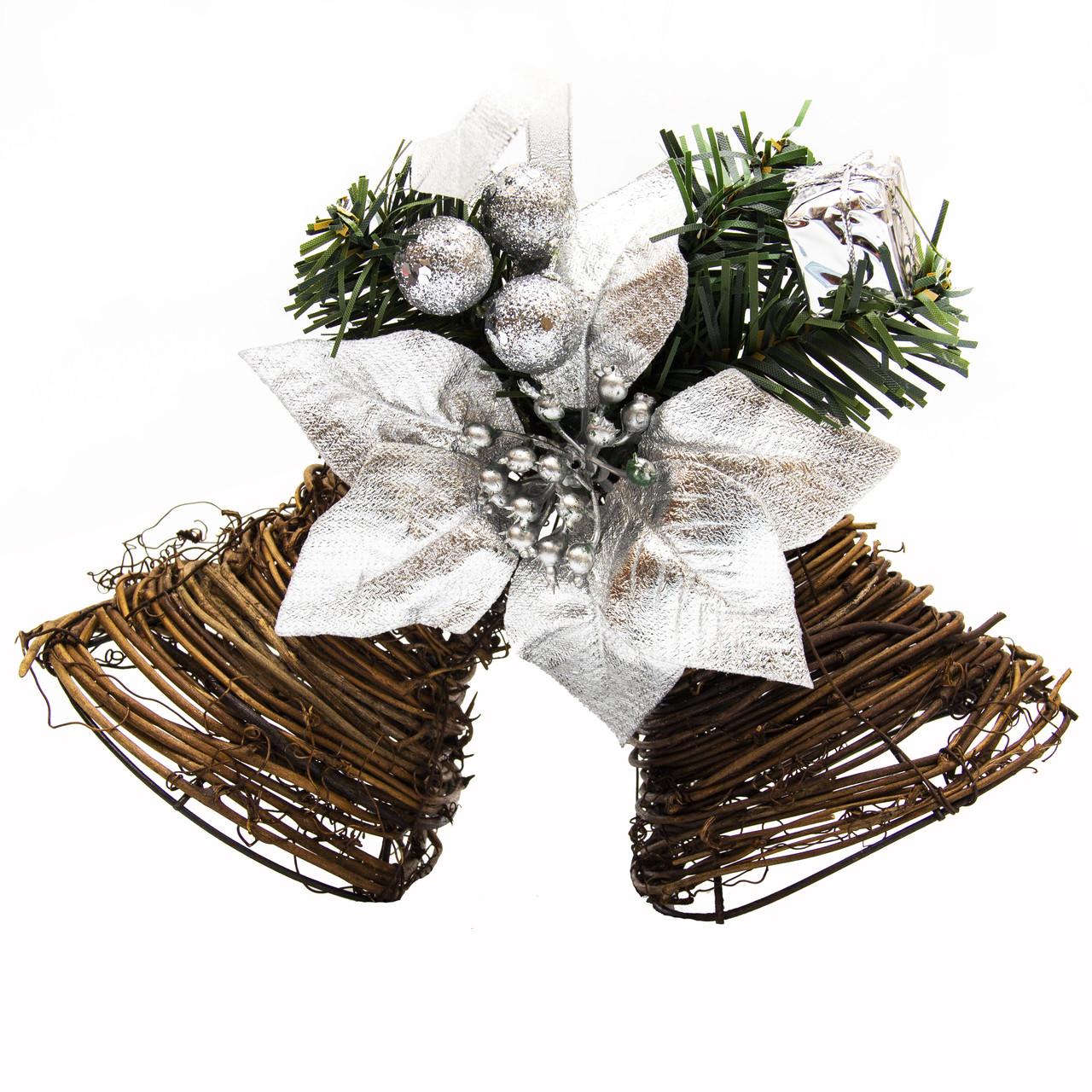 Новогодняя декорация - звоночек двойной с серебристой ленточкой, 22, 5 см (930227)