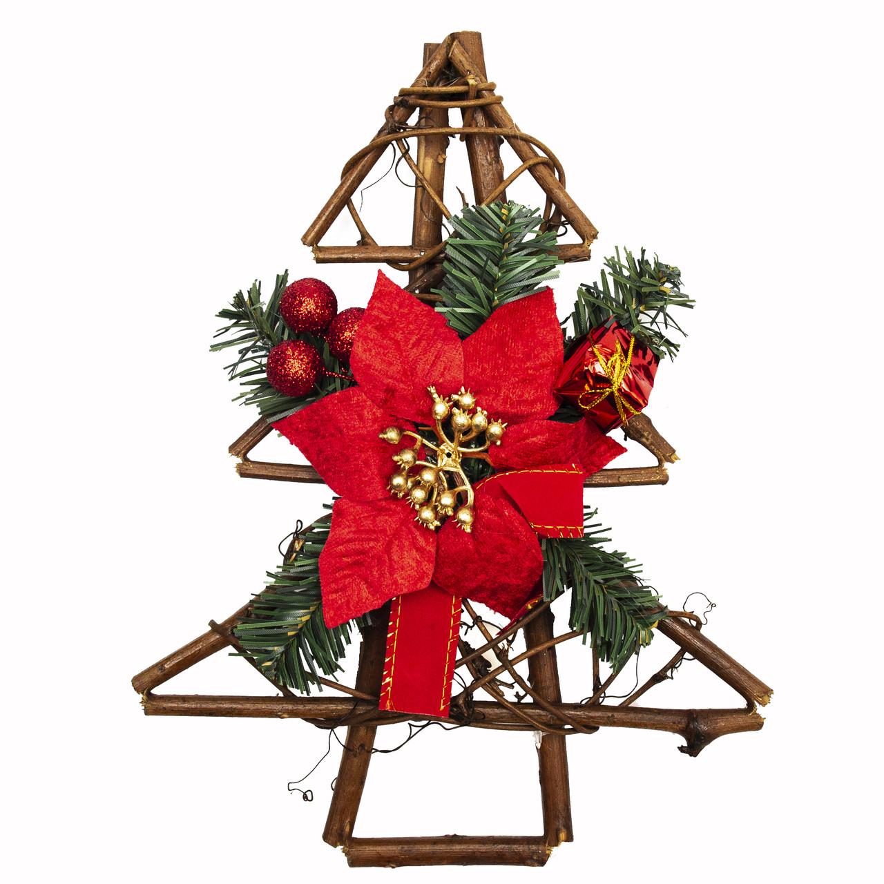 Новорічна декорація - ялинка з червоною квіткою, 30 см (930241)