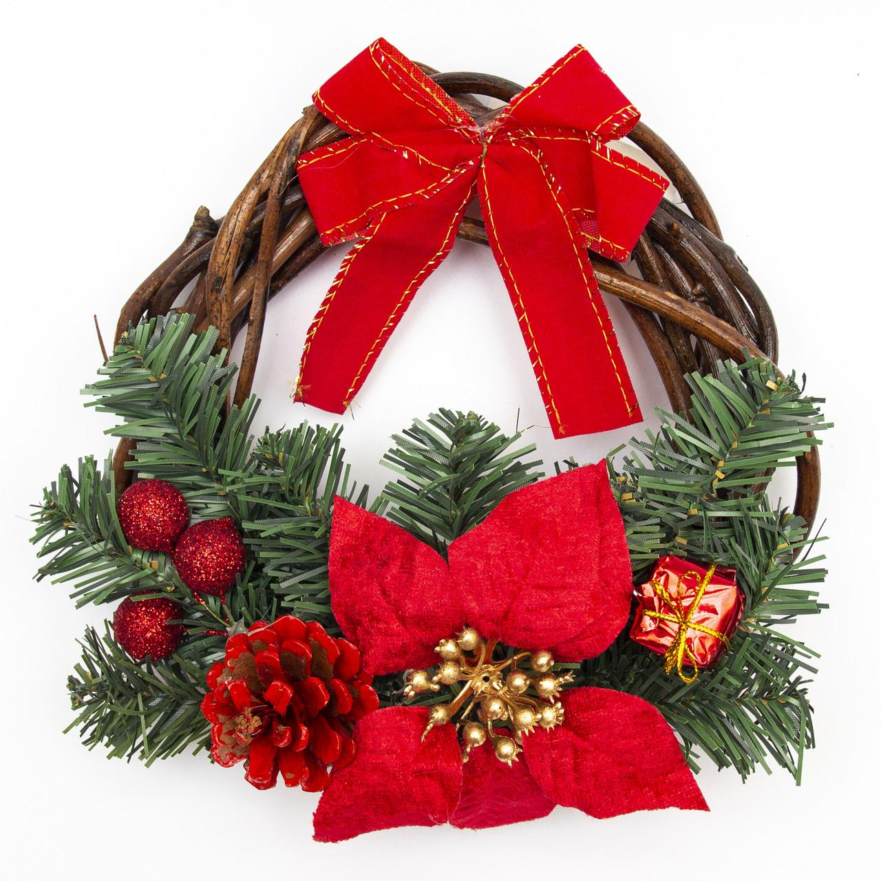 Різдвяний вінок з квіткою, червоний декор, 20 см (930272)
