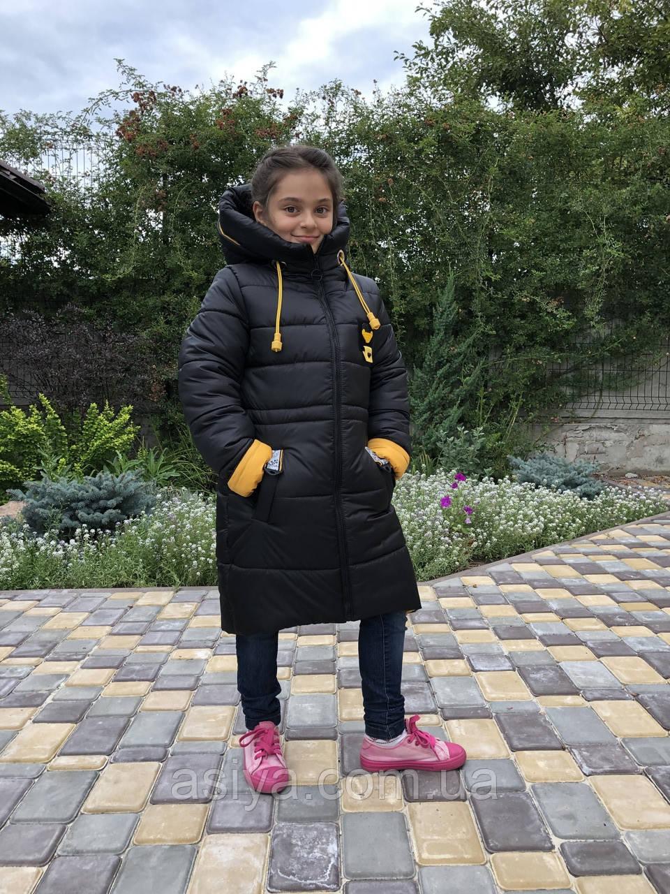 Зимняя куртка на девочку удлиненная Анюта черно-горчичного цвета
