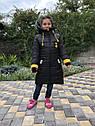 Зимова куртка на дівчинку подовжена Анюта чорно-гірчичного кольору, фото 2