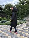 Зимова куртка на дівчинку подовжена Анюта чорно-гірчичного кольору, фото 3