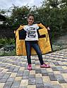 Зимова куртка на дівчинку подовжена Анюта чорно-гірчичного кольору, фото 4