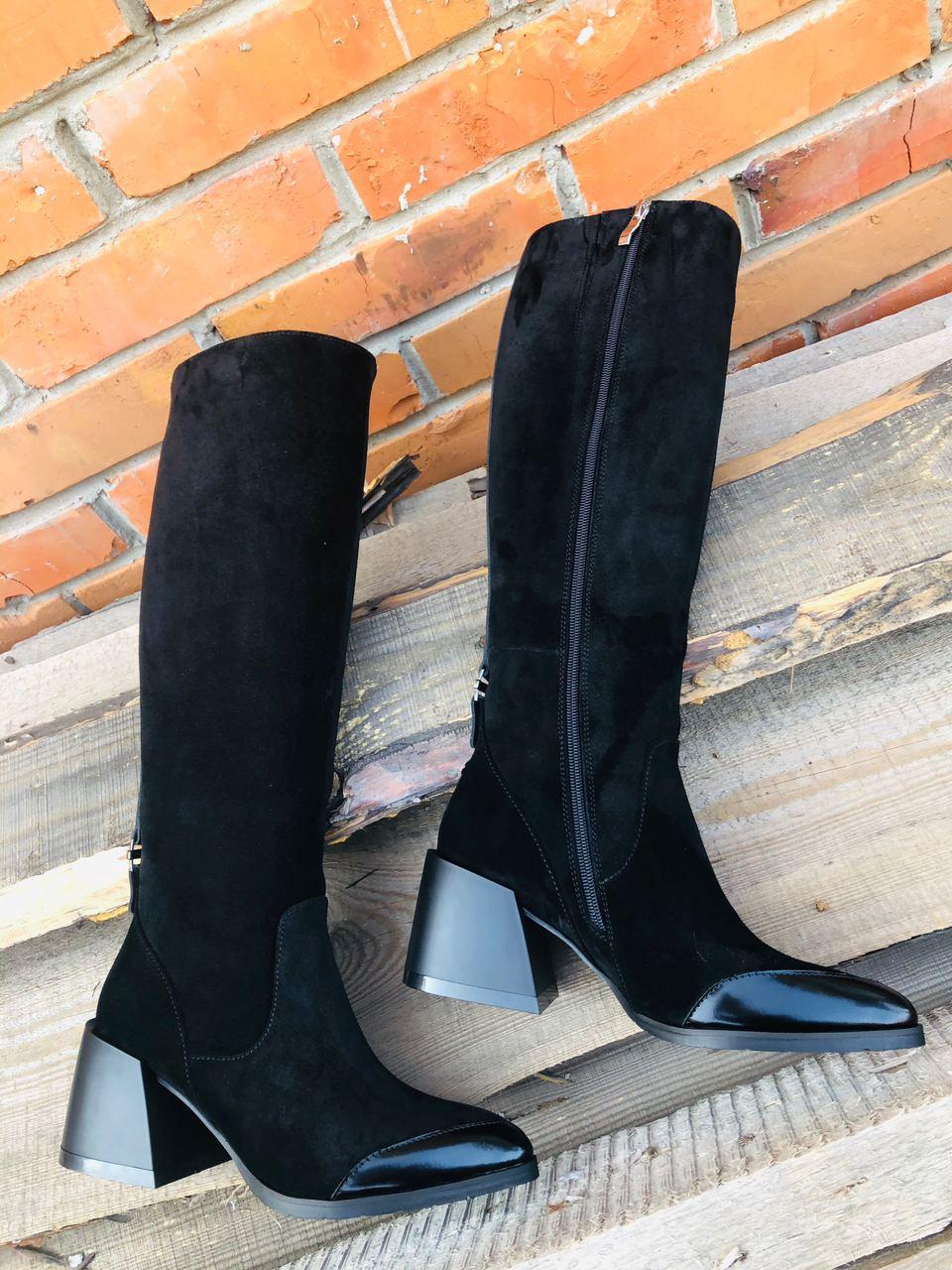 Стильні осінні чоботи з натуральної замші з глянцевим носком 36-40 р