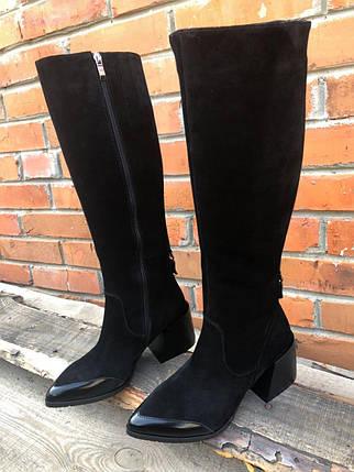 Стильні осінні чоботи з натуральної замші з глянцевим носком 36-40 р, фото 2