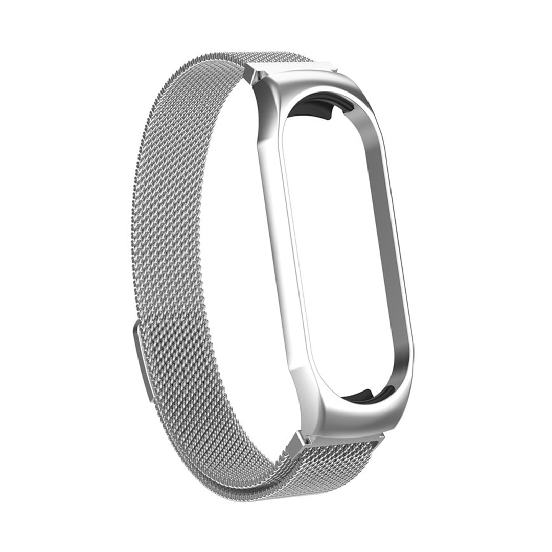 Магнитный ремешок для Xiaomi Mi Smart Band 5, Milanese Loop Spring, серебристый блестящий