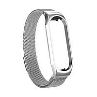 Магнитный ремешок для Xiaomi Mi Smart Band 5, Milanese Loop Spring, серебристый блестящий, фото 1