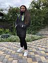 Зимова куртка на дівчинку подовжена Анюта чорно-салатового кольору, фото 2