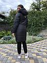 Зимова куртка на дівчинку подовжена Анюта чорно-салатового кольору, фото 3
