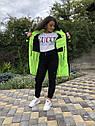 Зимова куртка на дівчинку подовжена Анюта чорно-салатового кольору, фото 6