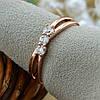 Кольцо Xuping 15127 размер 20 ширина 4 мм вес 2.0 г белые фианиты позолота РО, фото 5