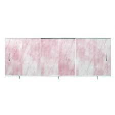 Панель раздвижная для ванной 1,7х0.5 Santa розовая мрамор