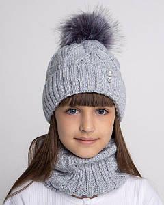 Вязаний комплект з помпоном для дівчинки оптом - Артикул 2636