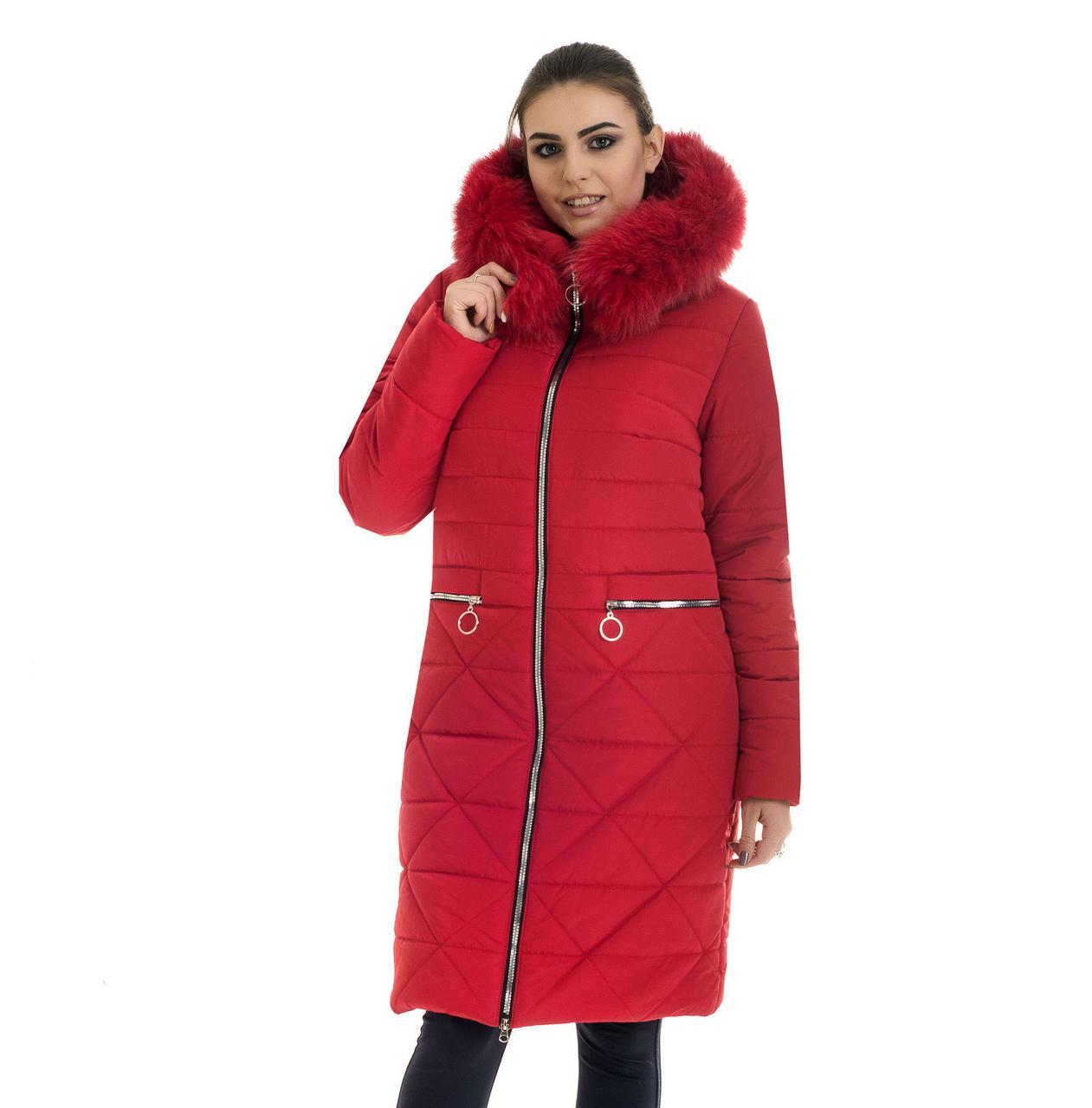 Красный зимний пуховик женский с капюшоном