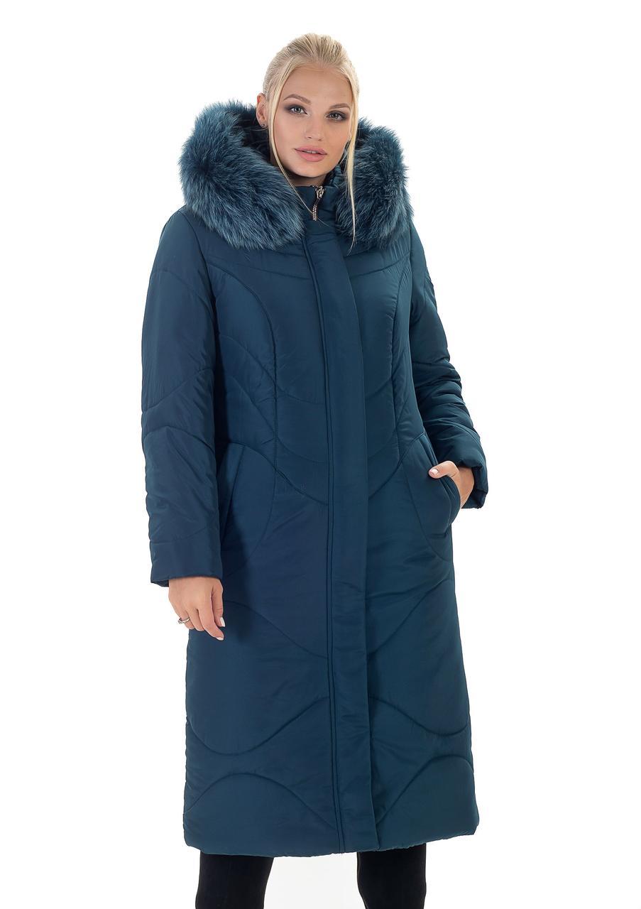 Модный зимний пуховик женский малахитового цвета