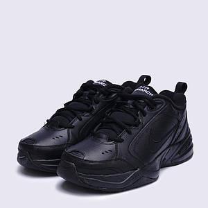 Nike Air Monarch IV 415445-001 Кожаные черные кроссовки на черной подошве