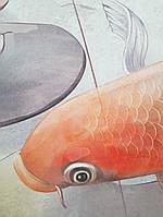 Фотообои водостойкие Koi pink рыбки цветы бежевые красные