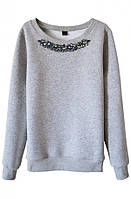 Женский стильный серый свитшот с камнями (женские кофты, кофточки, толстовки, регланы, свитера, кардиганы)