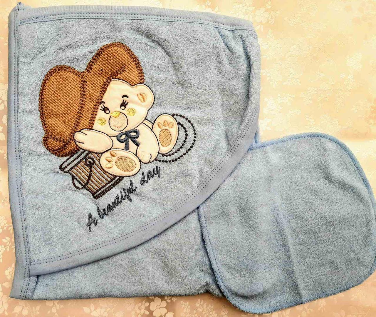 Мягкое махровое полотенце для детей с аппликацией в виде мишки