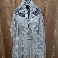 Свадебный красивый нарядный кружевной двухсторонний шарф цвета Айвори
