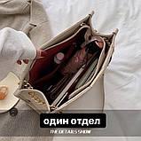 Женская большая классическая сумка на цепочке бежевая, фото 4