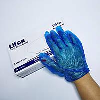Рукавички вінілові без пудри, розмір M 100шт сині