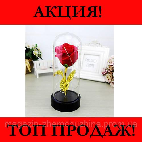 Роза в колбе с LED маленькая Красная и Розовая!Хит цена