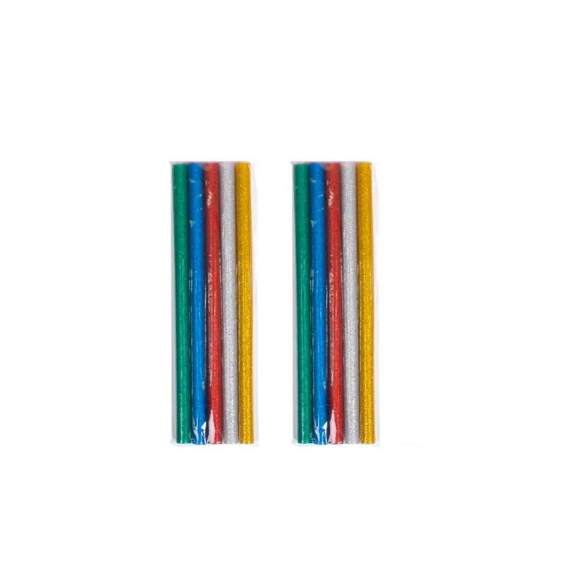 Клеевые стержни цветные с блестками 7 мм клеевого пистолета EVA, 10 шт