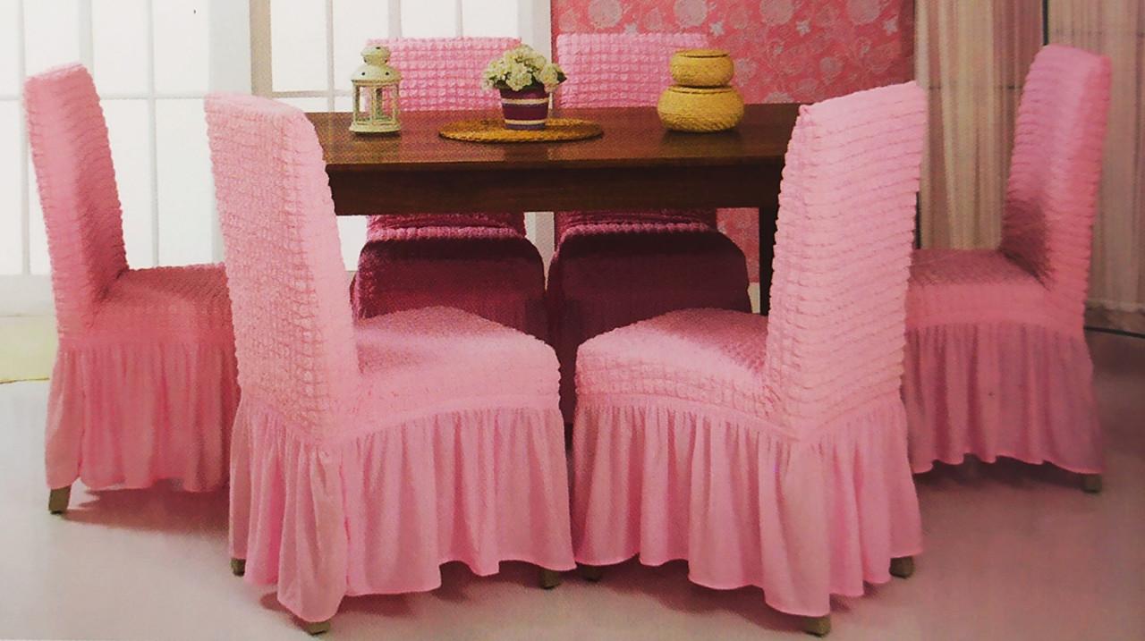 Универсальные чехлы на стулья натяжные Venera комплект 6 шт. с юбкой оборкой